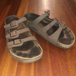 Size 40 or Mocha Triple Strap Birkenstock's